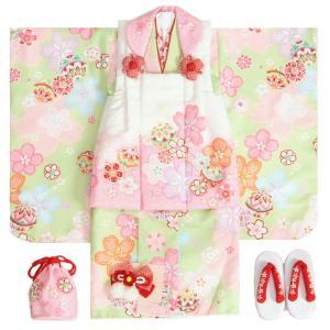 七五三 着物 3歳 女の子 被布セット 花うさぎ 着物グリーン 被布白ピンク染め分け 二段重ね衿 刺繍半衿に足袋付きフルセット