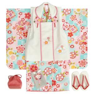 七五三 着物 3歳 女の子被布セット マユミブランド 濃淡水色市松グラデーション 桜 金彩使い 被布桜刺繍白色 足袋付セット