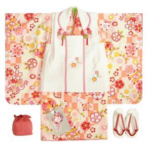 七五三 着物 3歳 女の子被布セット マユミブランド 濃淡黄色橙市松グラデーション 桜 金彩使い 被布桜刺繍白色 雛祭り 正月 足袋付フルセット