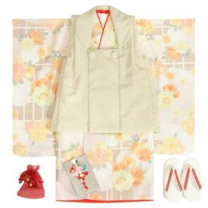 七五三 着物 3歳 女の子 被布セット 式部浪漫KAGURA(かぐら)ブランド オフホワイト 百花 被布黄緑麻の葉柄 雛祭り 正月 足袋付セット 日本製
