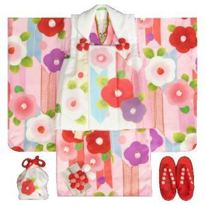 七五三 着物 3歳 女の子 被布セット 京都花ひめ 光琳椿 ピンク地着物 被布白 二段重ね衿 刺繍半衿に足袋付きフルセット