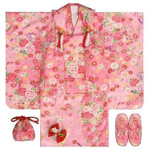 七五三着物 3歳 女の子被布セット ピンク色 薔薇 牡丹 地紋生地 足袋付きセット|doresukimono-kyoubi