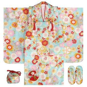 七五三着物 三歳女の子被布セット 水色 桜 牡丹 足袋付きセット
