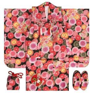 七五三着物 三歳女の子被布セット 黒 牡丹菊 地紋生地 足袋付きセット |doresukimono-kyoubi