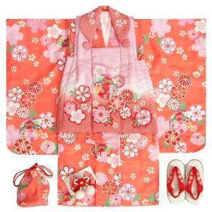 七五三 着物 3歳 女の子 被布セット 花うさぎ 着物オレンジ 被布ピンク赤疋田染め分け 二段重ね衿 刺繍半衿に足袋付きフルセット