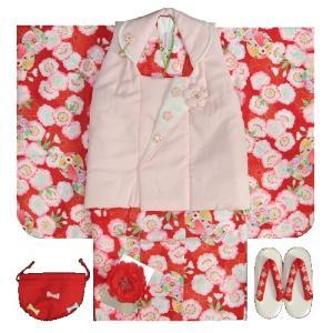 七五三 着物 3歳 女の子 被布セット チャイルドリームブランド 赤 淡いピンク被布セット 桜 風車 足袋に刺繍半衿の付いたフルセット