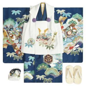七五三 男の子 3歳 被布着物セット 紺地 絵羽柄 被布白色 白半襟に足袋付きセット 日本製|doresukimono-kyoubi