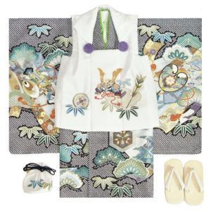 七五三 男の子 3歳 被布着物セット ベージュ地 絵羽柄 被布紺色 白半襟に足袋付きセット 日本製|doresukimono-kyoubi
