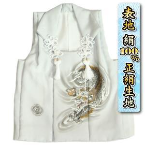 七五三 3歳 着物 男の子 正絹 被布単品 シルバーグレー 龍 手描き 変わり無地精華生地 日本製|doresukimono-kyoubi