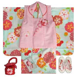 七五三着物 3歳女の子被布セット 式部浪漫ブランド 水色 捻り梅桜 被布ピンク 華輪刺繍 足袋付セット 753
