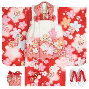 七五三 着物 3歳 女の子 被布セット 麗蘭ブランド 赤地着物 被布白赤染め分け 菊 梅桜 まり 足袋付きセット
