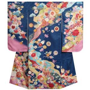 七五三 着物 7歳 女の子四つ身着物 フロム京都ブランド FromKYOTO 青色ピンク染め分け 友禅柄 サヤ生地生地