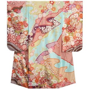 七五三 着物 7歳 女の子 四つ身着物 式部浪漫 水色地 華尽くし 金糸刺繍 疋田友禅柄 日本製