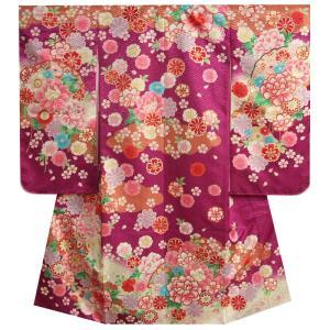 七五三 着物 7歳 女の子 黒ピンク白染め分け着物 桜 牡丹 桜地紋生地|doresukimono-kyoubi