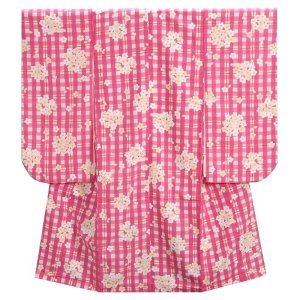 七五三 着物 7歳 女の子四つ身着物 ピンク格子チェック 桜珠柄|doresukimono-kyoubi