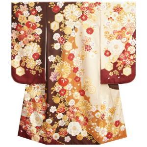 七五三 着物 7歳 女の子 四つ身着物 式部浪漫ブランド 茶色ベージュ染め分け 八重桜 橘 金糸刺繍 日本製