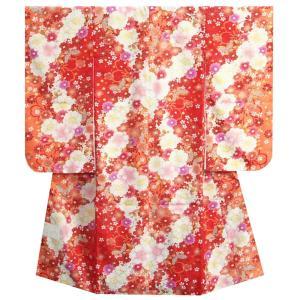 七五三 着物 7歳 女の子 四つ身着物 マユミブランド 濃淡赤地色 大小桜 ピンク 桜地紋生地|doresukimono-kyoubi