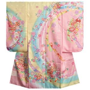 七五三着物 7歳女の子 四つ身着物 黄色地三色ぼかし染め 桜 まり サヤ地紋