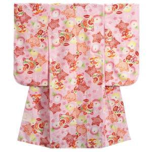 七五三着物 七歳 女の子四つ身着物 ピンク色地 桜 捻り梅 桜地紋|doresukimono-kyoubi