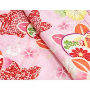 七五三 着物 7歳 女の子四つ身着物 ピンク色地 橘華 桜地紋 doresukimono-kyoubi 03