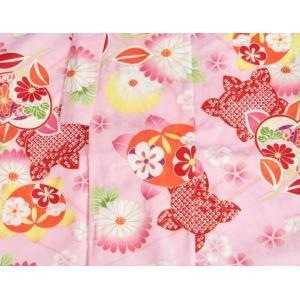 七五三 着物 7歳 女の子四つ身着物 ピンク色地 橘華 桜地紋 doresukimono-kyoubi 05
