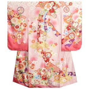 七五三 着物 7歳 女の子 四つ身着物 式部浪漫 濃淡桜ピンク染め分け 菊 金糸刺繍 熨斗牡丹 日本製