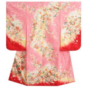 七五三 着物 7歳 女の子 四つ身着物 ピンク色 花車 絵羽柄 桜地紋生地 日本製