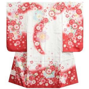 七五三 着物 7歳 女の子 白ピンク赤染め分け着物  桜 牡丹 流れぼかし サヤ地紋生地|doresukimono-kyoubi