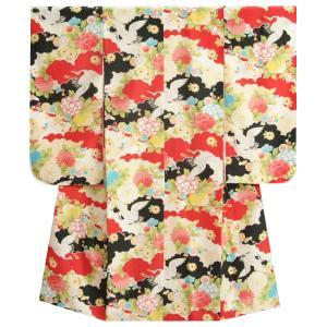 七五三 着物 7歳 女の子 赤色雲取文様 鶴 縮緬生地