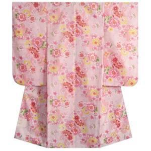 七五三 着物 7歳 女の子四つ身着物 ピンク色 桜 牡丹菊 桜地紋 |doresukimono-kyoubi