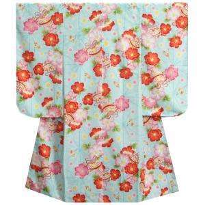 七五三 着物 7歳 女の子四つ身着物 淡水色地 三色椿 桜地紋|doresukimono-kyoubi