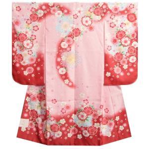 七五三 着物 7歳 女の子 紅ピンク染め分け着物 桜 牡丹 サヤ地紋生地|doresukimono-kyoubi