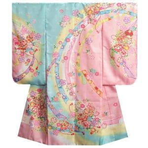 七五三 着物 7歳 女の子 四つ身着物 水色地三色ぼかし染め 桜 まり サヤ地紋