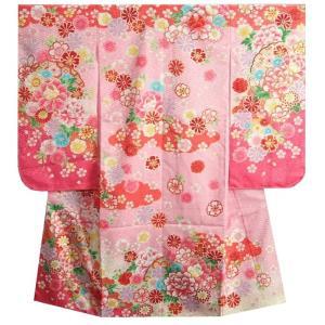 七五三 着物 7歳 女の子 四つ身着物 フロム京都ブランド 濃淡ピンク染め分け まり 刺繍牡丹菊 サヤ地紋生地