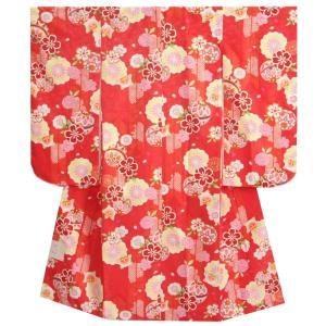 七五三着物7歳 女の子四つ身着物 赤地 桜 桜輪 地紋生地 |doresukimono-kyoubi