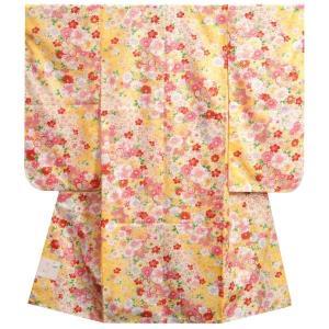 七五三着物 七歳 女の子四つ身着物 黄色地 桜 雪輪 桜地紋|doresukimono-kyoubi