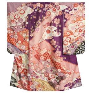 七五三 着物 7歳 女の子 四つ身着物 式部浪漫 紫色地 華尽くし 金糸刺繍 疋田友禅柄 日本製