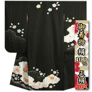 七五三 着物 7歳 正絹 女の子 四つ身着物 黒色 本絞り 牡丹刺繍使い 日本製