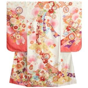 七五三 着物 7歳 女の子 四つ身着物 式部浪漫 白色地ピンク染め分け 菊 金糸刺繍 熨斗牡丹 日本製