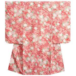 七五三着物 七歳 女の子四つ身着物 赤色地 桜 四季華 桜地紋 |doresukimono-kyoubi