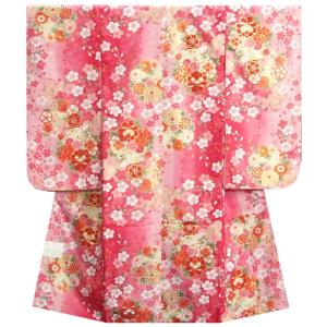 七五三 着物 7歳 女の子 四つ身着物 マユミブランド 濃淡ピンク地色 大小桜 芍薬 桜地紋生地|doresukimono-kyoubi