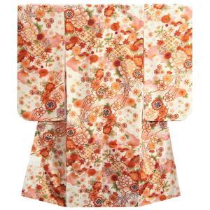 七五三 着物 7歳 女の子 四つ身着物 マユミブランド 白地色 桜 雪輪柄 桜地紋生地|doresukimono-kyoubi