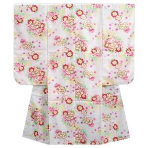 七五三着物 七歳女の子四つ身着物 白色 桜 芍薬 牡丹