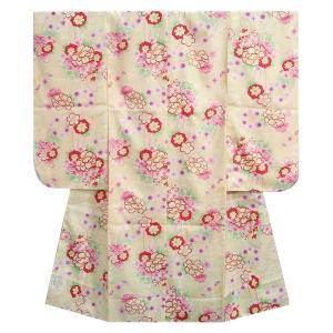 七五三着物 七歳女の子四つ身着物 黄色 桜 芍薬 牡丹 |doresukimono-kyoubi