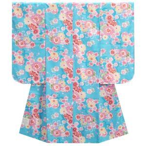 七五三 着物 7歳 女の子四つ身着物 水色 桜 ぼたん菊 桜地紋  |doresukimono-kyoubi