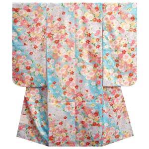 七五三着物 7歳女の子四つ身着物 水色 雪輪疋田 八重桜 桜地紋|doresukimono-kyoubi