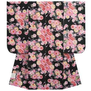 七五三 着物 7歳 女の子四つ身着物 黒色 桜 ぼたん菊 桜地紋|doresukimono-kyoubi