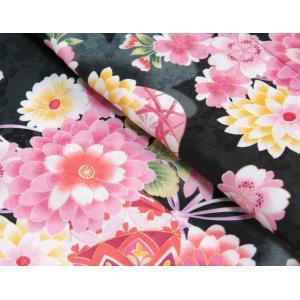 七五三 着物 7歳 女の子四つ身着物 黒色 桜 ぼたん菊 桜地紋|doresukimono-kyoubi|03