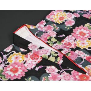 七五三 着物 7歳 女の子四つ身着物 黒色 桜 ぼたん菊 桜地紋|doresukimono-kyoubi|04