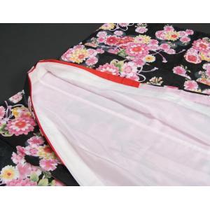 七五三 着物 7歳 女の子四つ身着物 黒色 桜 ぼたん菊 桜地紋|doresukimono-kyoubi|05